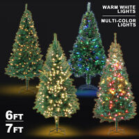 6FT 7FT Pre-Lit Green Artificial Christmas Tree Xmas Pine w/Decorated LED Lights