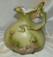 RARE~HAND PAINTED NIPPON FLORAL & GOLD DECORATED PITCHER~STUNNING!