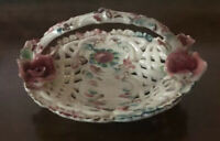 Beautiful Paul's Italy Vintage Ceramic Round Basket With Roses- Signed