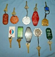 Vintage Lot 10 Hotel/Motel Keys GA, NC and others, Two metal Medallion fobs