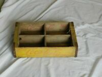 Vintage Coca Cola Wooden Coke Crate Soda Case 4 Slots Holder Carrier Yellow