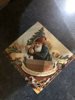 Antique Christmas Trade Card Santa In Blue Coat Woolson Spice Co.