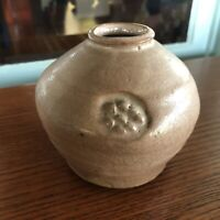 Clary Illian Studio Pottery Stoneware Brush Pot Vase Mauve Crackle Glaze Iowa
