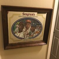 Seagram's Seven Crown Sports Collection Wood Framed Mirror Satchel Paige Gibson