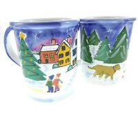 2pc Set Starbucks Hand Painted In Hungary Holiday Coffee Mug Christmas Tree Dog