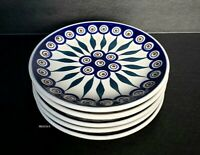 BOLESLAWCU POLISH POTTERY 5 PEACOCK SALAD PLATES HAND MADE POLAND BLUE NEW