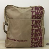 TWA Vtg 70s 80s Tan Canvas Duffle Gym Travel Airline Bag Luggage Carry On