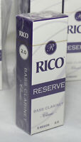 Lot 2 boxes - Rico Reserve Classic Bass Clarinet Reeds, Strength 2.0, 5-pack