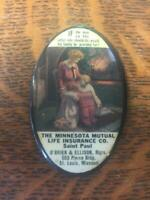 Vintage THE MINNESOTA MUTUAL LIFE INSURANCE CO. Celluloid Advertising Mirror