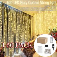 Lot Twinkle 600 LED Window Curtain String Light 6mX3m For Room Decor Warm White