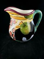 Droll Designs Hand Painted Jug Pitcher Apples and Spoons Design