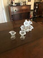 FENTON DIAMOND & LACE FRENCH OPALESCENT EPERGNE AND PAIR OF CANDLESTICKS.