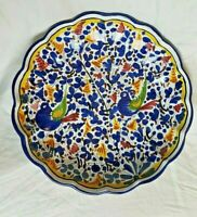 Large Ceramic Shallow Bowl Made in Italy--Bluebird Decoration
