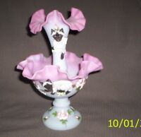 Fenton one of kind Siamese cat pink Burmese Epergne hp & designed -Marlyn Wagner