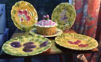 French Majolica Covered Jam Pot & 4 matching Plates from Sarreguemines