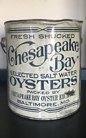 Chesapeake Bay Oyster Exchange Selected Salt Water Oysters Baltimore MD Old Can