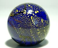 GES GLASS EYE STUDIO SIGNED GES 95 HANDCRAFTED ART PAPERWEIGHT MARBLE BLUE GOLD