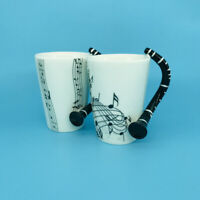 Exquisite Clarinet Handle Music Style Porcelain Coffee Mug White Ceramic Cup