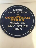 Vintage Antique Enamel Porcelain Good Year Sign Round 21.75""