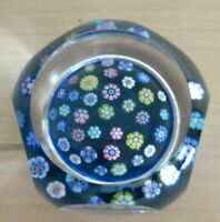 Whitefriars Paperweight Faceted Millefiori Floating on Blue Ground 1970
