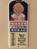 Antique WARD'S VITOVIM BREAD Porcelain Thermometer Sign Dated March 1915