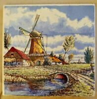 Vintage Delft Tile Color Windmill Hand-painted Holland