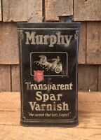 Antique 1Gal MURPHY VARNISH Tin Can With Cool Industrial Works Graphics Art Deco