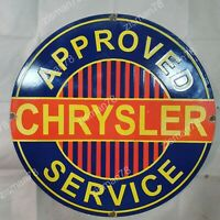 CHRYSLER APPROVED SERVICE VINTAGE PORCELAIN SIGN 29 INCHES ROUND