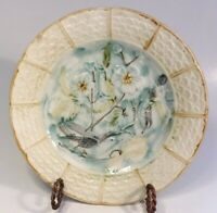 "Antique French Majolica Plate ""Birds & Flowers"" by Onnaing c. Mid 1800s"