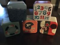 5 Authentic Assorted Fossil Tin Boxes