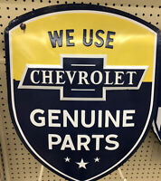 """Chevrolet Sign Genuine Parts Metal Tin Sign Home Garage Shop Wall Decor New 24"""""""