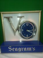 SEAGRAM'S VO DISPLAY SIGN with working  CLOCK Plastic-Claremould Newark,NJ-70's