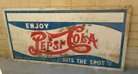 Rare VTG Antique 1920's 1930's stamped metal Pepsi Cola Hits The Spot 8x4 Sign