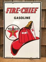 Great TEXACO Fire Chief Gasoline Gas Station Porcelain Pump Plate Sign