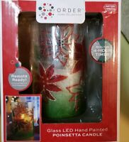 ORDER HOME COLLECTION Glass LED Hand Painted Poinsettia Candle With Daily Timer