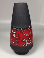 Fat Lava Vase Red Black Mid Century Modern West German Pottery