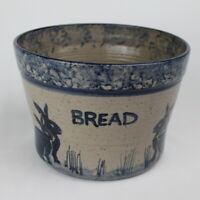 Sugarcamp Studio Pottery Bread Bowl - Blue & Gray Spongeware Bunnies Rabbits