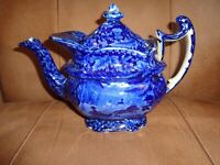 Antique 19th.c Historical Blue Sleigh Rider & Horses Pattern Teapot, (j1)