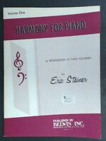 Harmony For Piano Volume 1 One Eric Steiner 1962 $6.45