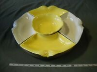 VINTAGE HOENIG OF CALIFORNIA POTTERY LAZY SUSAN YELLOW AND WHITE SERVING SET 273