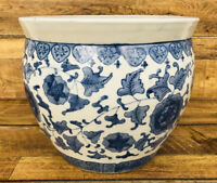 Chinese Porcelain Pottery Planter / Fish Bowl Jardiniere Blue White Hand Painted