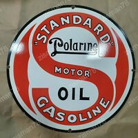 STANDARD POLARINE MOTOR OIL VINTAGE PORCELAIN SIGN 29 INCHES ROUND