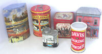 6 Lot Advertising Tins Vintage Vermont Syrup Davis Baking Powder Others