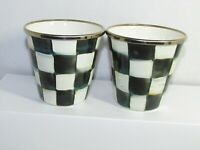 Mackenzie Childs 2 Courtly Check Enamel Tumblers