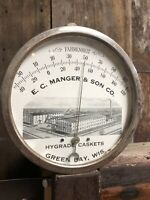 "VINTAGE 6"" Manger & Sons Co. Hygrade Caskets Green Bay Wisconsin Thermometer Old"