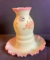 1970's FENTON SATIN BURMESE ROSES FAIRY LAMP HAND PAINTED ART GLASS