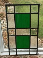 STAINED GLASS PANEL GREEN And CLEAR
