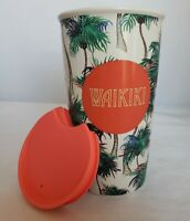 Starbucks Hawaii Waikiki Ceramic Travel Tumbler Mug 12oz Tropical Palm Trees EUC
