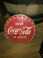 """Vintage 1950's Drink Coca-Cola 12"""" Round Advertising Thermometer."""