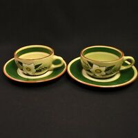 Stangl Star Flower 2 Cups & Saucers White Yellow Hellebore Green Engobe 1952-55